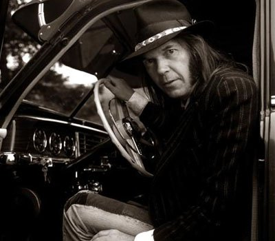 Neil Young in his car